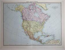 1920 gran mapa de América del Norte Estados Unidos México Dominion Canada Cuba Jamaica
