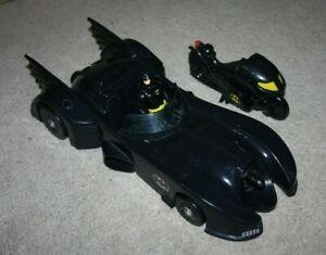 DC - Batman Movie - Vintage ToyBiz Batmobile + Batcycle Vehicles - Loose