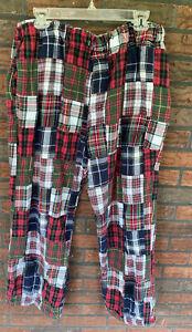 Flannel Patchwork Sleep Pants XL 100% Cotton Long Lounge Bottoms Elastic Waist