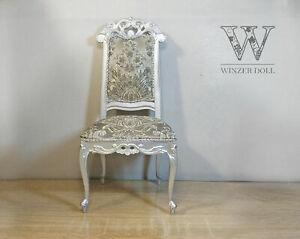 1/4 chair for foll, baroque silver, BJD doll furniture, vintage furniture