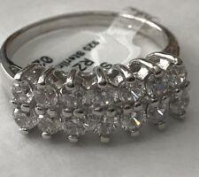 Classy  Silver 2 Row Simulated Diamond Band Ring Sz 5 7 10