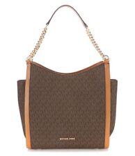 Michael Kors Newbury Medium Chain Shoulder Brown Signature w/Leather MSRP $328