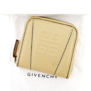 Givenchy Wallet Purse G logos Beige Silver Woman unisex Authentic Used T5309
