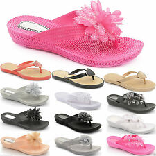 Synthetic Wedge Flip Flops for Women
