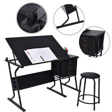 TiltableTabletop Drawing Board Table Craft Art Drafting Folding Desk W/ Stool