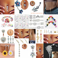 Lots Navel Belly Button Rings Bar Crystal Flower Dangle Body Piercing Jewelry
