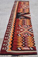 Chick kitchen Kilim Runner Rug Bohemian Orange Red Black Colored Rug 2'5 x 12'3