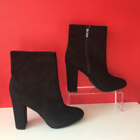 NEXT Black Faux Suede Leather Block Heel Boots UK 7 EUR 40 BNWOB