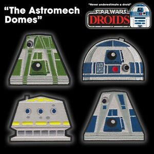 """Star Wars """"The Astromech Domes"""" Droid Team set of 4 embroidered iron-on patches"""