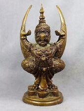 "Statue 7.5"" GARUDA Phaya Krut Bucha King of Bird Thai Amulet Buddha Brass decor"