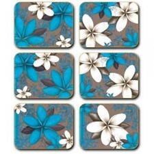 Blue / Aqua Frangipani Coasters x 6 By Lisa Pollock New Great Gift Idea