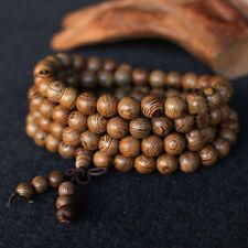 8mm*108 Wood Buddhist Buddha Meditation Prayer Bead Mala Necklace Bracelet Red