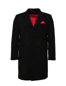 Relco Mens Crombie Coat Black 80% Wool Fitted Overcoat Red Lining Mod Skinhead