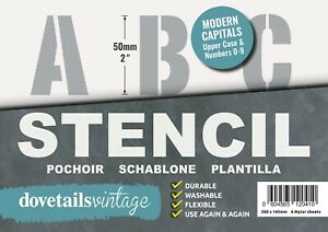 "LETTERING STENCIL BIG ALPHABET NUMBERS 50mm tall 1.96"" 6X sheets Modern CAPITALS"