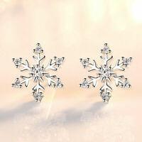 Snowflake Crystal Stud Earrings 925 Sterling Silver Womens Girls Christmas Gift