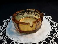 Vintage Amber Glass  Ashtray Cigar Heavy Thick Mid Century Modern