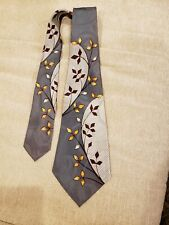 Vintage 40s 50s Wide Swing Tie Gray and Silver w/Orange Yellow Leaves