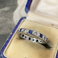9ct White Gold Square Sapphires Eternity Ring, White Topaz, Art Deco Style UK K+