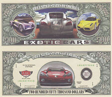 Two Exotic Cars Novelty Funny Money Collectible Bills #076