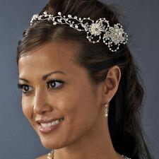 Silver Ivory Freshwater Pearl Rhinestone Wedding Bridal Circlet Headpiece Crown