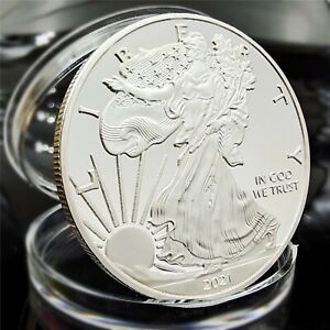 2021 American Statue Of Liberty Eagle Coin Silver Plated Commemorative Coi n