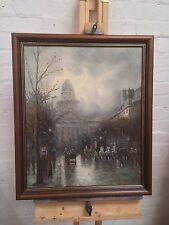 VINTAGE J JOHNNY John Gaston Cityscape parigino Street Scene dipinto ad olio