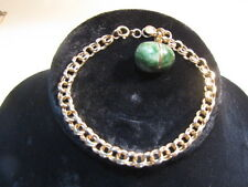 Vintage 14 K Yellow Gold Double Wire Link Egg Charm Bracelet Marked  7.5''