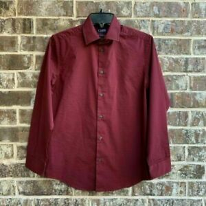 CHAPS Big Boys Button Up Long Sleeves Dress Shirt Red Garnet Size L (14-16)