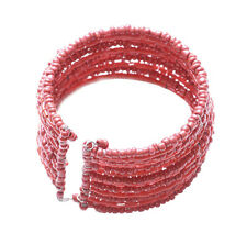 Exotic Clay Red / Thickly Beaded & Stacked , One Size Fits All bracelet (Zx75)