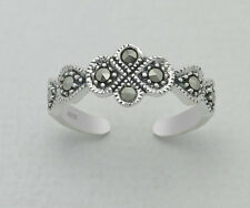 Tjs 925 Sterling Silver Marcasite Flower Leaf Design Toe Ring Adjustable