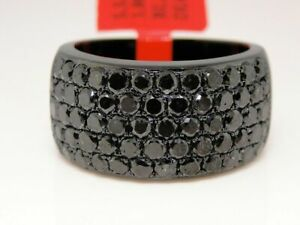 3 Ct Mens Ladies Black on Black Diamond Pinky Ring Band 14K Black Gold Finish