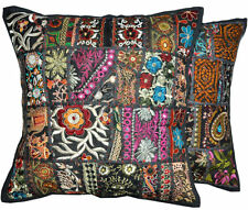 2pc Black wholesale set Decorative Tribal accent throw pillow, Patchwork Indian