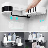 Bath Corner Storage Rack Holder Shelf Bathroom Self-adhesive Rotating Tripod 1pc