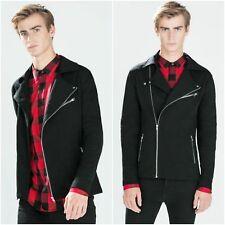 Zara Black Cotton Blend Biker Jacket Coat Man Authentic Small S 9240/308