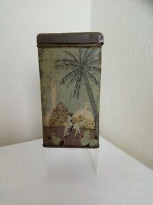 Vintage Metal Hinged Box - African Camels Palm Trees