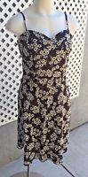 ANN TAYLOR LOFT Women's Brown Ivory Floral Print Sun Dress Sleeveless Sz 10