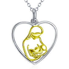 Mother's Day Gifts Sterling Silver 18K Gold Mom Hug Kids Necklace Heart Pendant