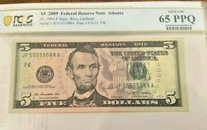 2009 $5 Fancy Serial Number Binary -55555588-PCGS 65PPQ-6  5's on a $5 bill