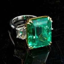 Real 925 Silver 21.00 Carat Colombian Emerald & CZ Three Stones Engagement Ring