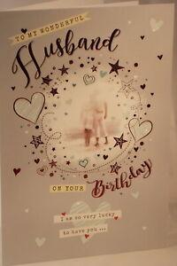 To My Wonderful Husband on your Birthday card 24.5cm x 17.25cm