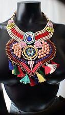 Ladies Multicolour Ethnic Tribal Celebrity Statement Festival Bib Necklace