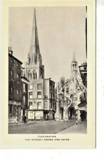 CHICHESTER - THE MARKET CROSS & CATHEDRAL SPIRE B&W POSTCARD