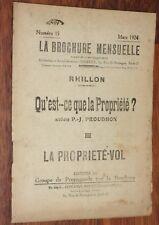 ANARCHIE La Brochure Mensuelle 15 RHILLON Qu'est-ce que la Propriété Proudhon 3