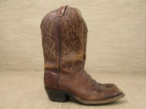 Justin Brown Leather Boots Women's Size US 7.5 D Slip-On Cowboy Western Style