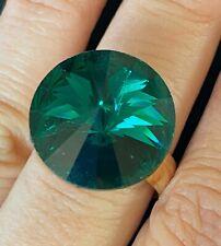 Adjustable Gold Tone Ring Wendy Gell Signed Green Rhinestone