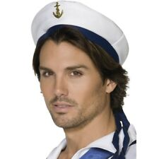 NEW White Sailor Hat - Adult Fancy Dress Costume Navy Hat Accessory