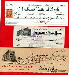 3 USA CHEQUES, BURLINGTON 1868, JANESVILLE BANK 1920 & CUMBERLAND 1947. JOB LOT.