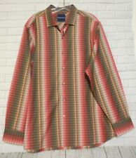 Tommy Bahama Large Pink Green Brown Long Sleeve Cotton Dress Shirt