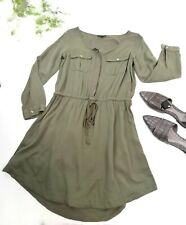 AMERICAN EAGLE OUTFITTERS OLIVE GREEN MILITARY SHIRT DRESS Medium M Women's