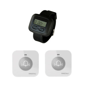 SINGCALL Wireless Nursing System for Hospital 1 Watch 2 Small Touchable Bells